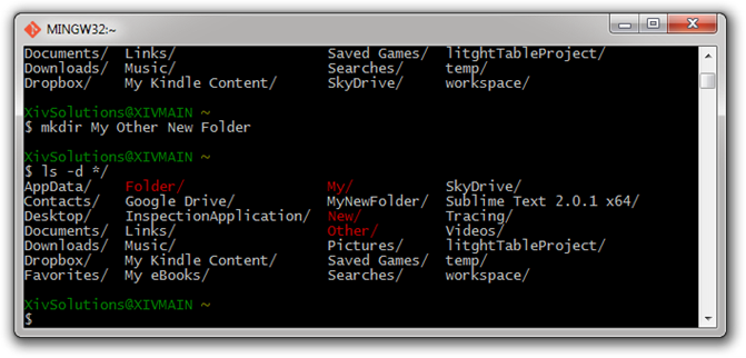 Bash-List-Directory-Contents-With-New-Folder-Wrong