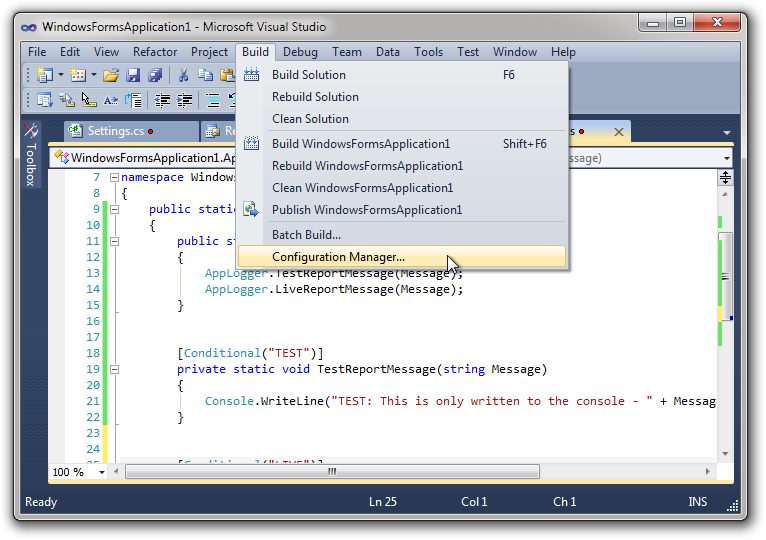 Visual Studio Use Conditional Compilation To Control Runtime
