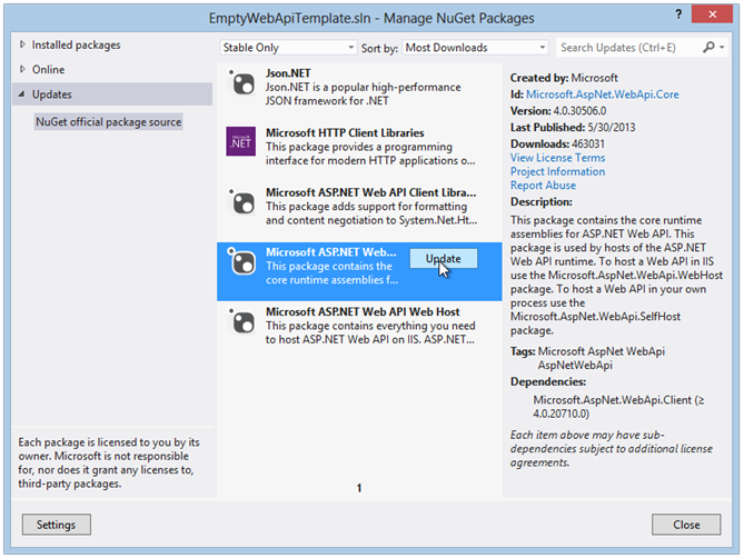 EmptyWebApiTemplate.sln - Manage NuGet Packages