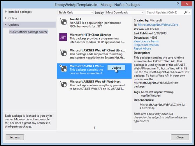 EmptyWebApiTemplate.sln - Manage NuGet Packages