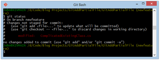 Git Bash-git-status-after-commit-bugfix
