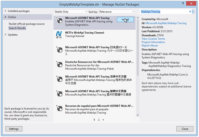 WebApiTracing - Manage NuGet Packages
