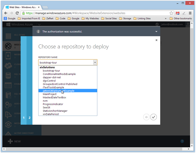 azure-create-website-select-repo-from-remote