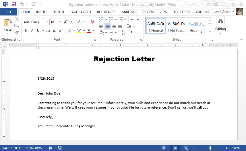 C create and manipulate word documents programmatically using docx docx rejection letter sample spiritdancerdesigns Images
