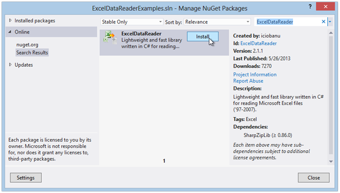 get-excel-data-reader-via-nuget-package-manager
