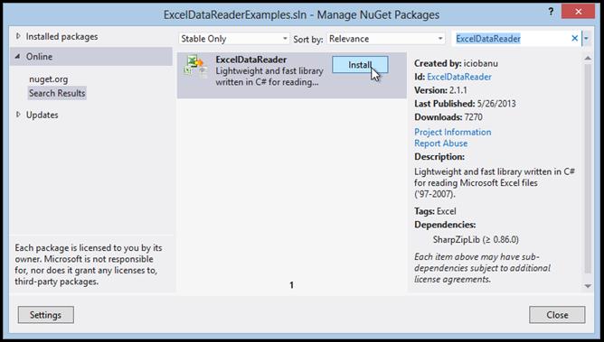 get-excel-data-reader-via-nuget-package-manager