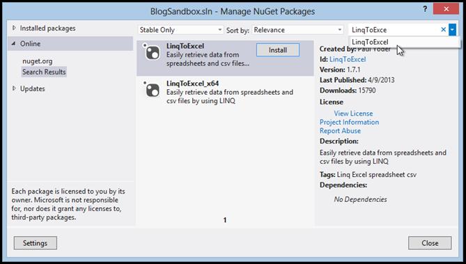 install-linq-to-excel-nuget-pkg