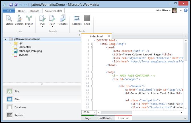 webmatrix-git-option-after-click